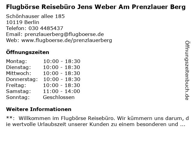 Flugbörse Reisebüro Jens Weber Am Prenzlauer Berg in Berlin: Adresse und Öffnungszeiten