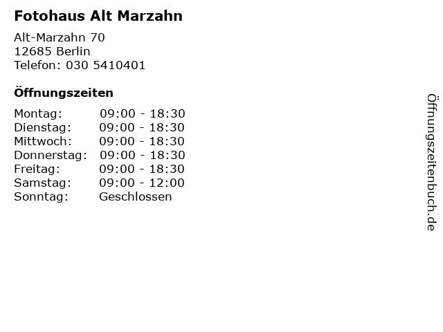 Fotohaus Alt Marzahn in Berlin: Adresse und Öffnungszeiten