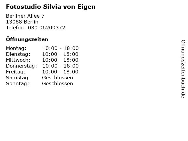 Fotostudio Silvia von Eigen in Berlin: Adresse und Öffnungszeiten