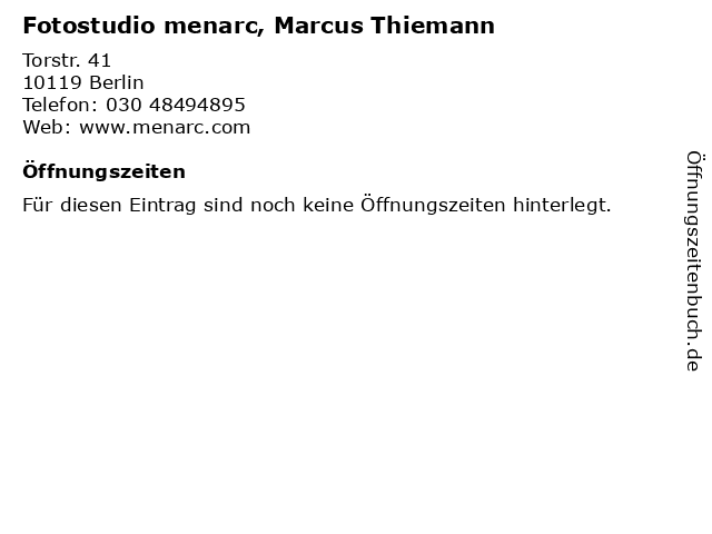 Fotostudio menarc, Marcus Thiemann in Berlin: Adresse und Öffnungszeiten