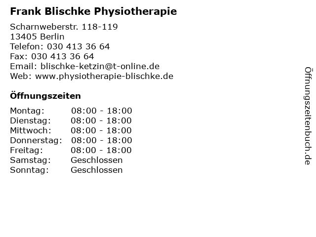 Frank Blischke Physiotherapie in Berlin: Adresse und Öffnungszeiten