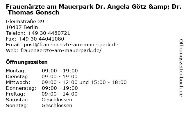 Frauenärzte am Mauerpark, Dres. Götz und Gonsch in Berlin: Adresse und Öffnungszeiten