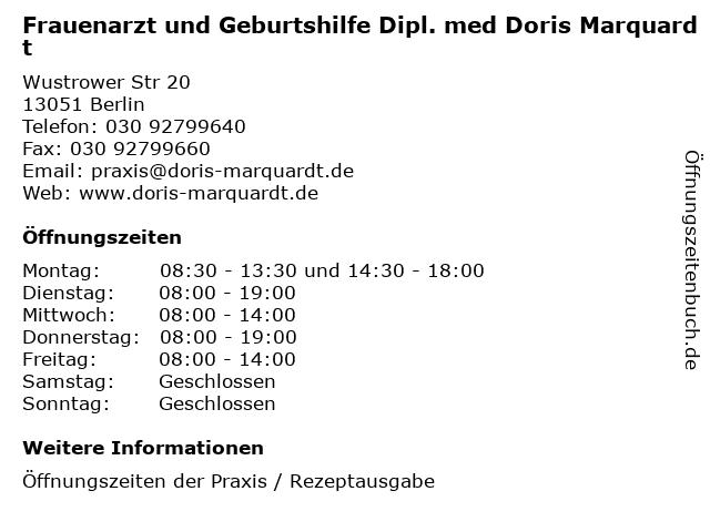 Frauenarzt und Geburtshilfe Dipl. med Doris Marquardt in Berlin: Adresse und Öffnungszeiten
