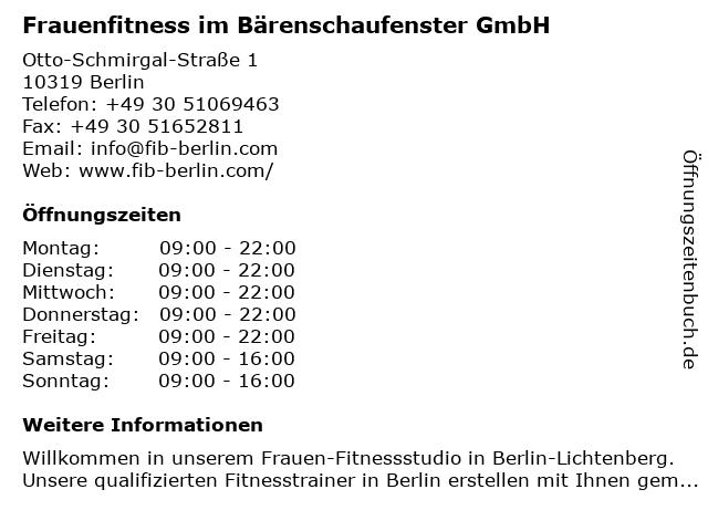 Frauenfitness im Bärenschaufenster GmbH in Berlin: Adresse und Öffnungszeiten