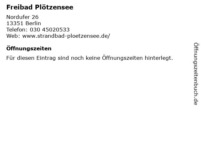 Freibad Plötzensee in Berlin: Adresse und Öffnungszeiten