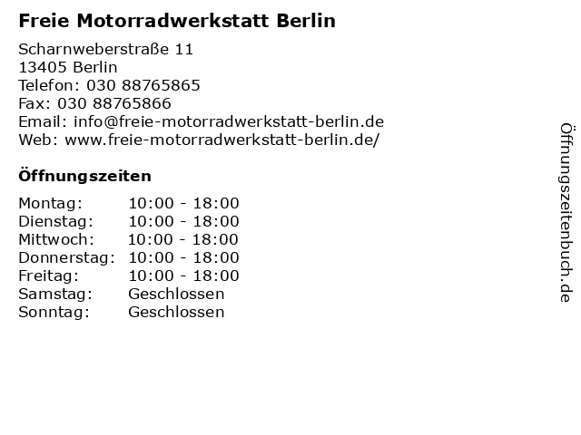 Freie Motorradwerkstatt Berlin in Berlin: Adresse und Öffnungszeiten