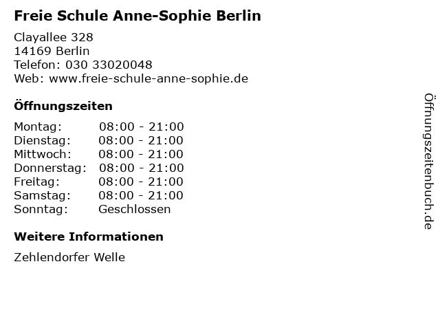 Freie Schule Anne-Sophie Berlin in Berlin: Adresse und Öffnungszeiten