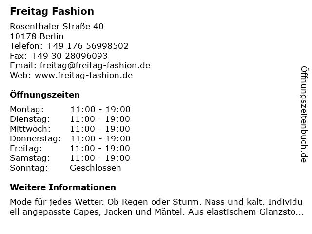 Freitag Fashion in Berlin: Adresse und Öffnungszeiten
