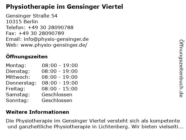 Klier Cornelia Physiotherapie in Berlin-Friedrichsfelde: Adresse und Öffnungszeiten