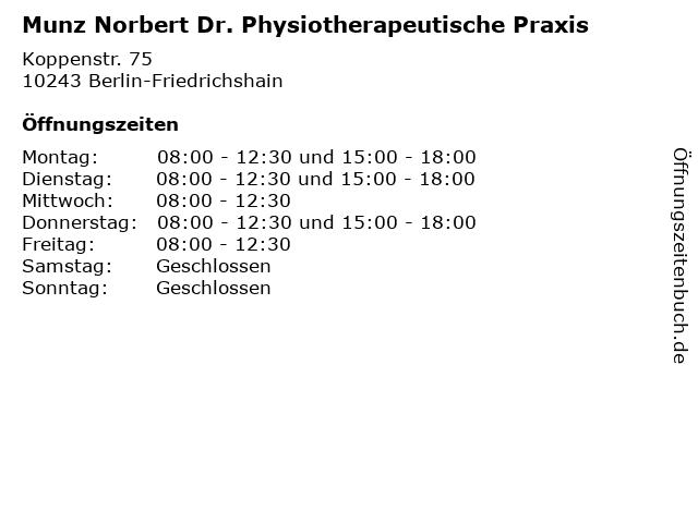 Munz Norbert Dr. Physiotherapeutische Praxis in Berlin-Friedrichshain: Adresse und Öffnungszeiten