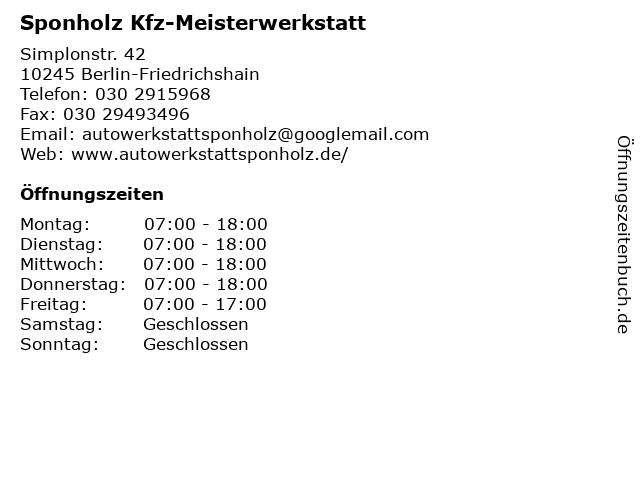 Sponholz Kfz-Meisterwerkstatt in Berlin-Friedrichshain: Adresse und Öffnungszeiten