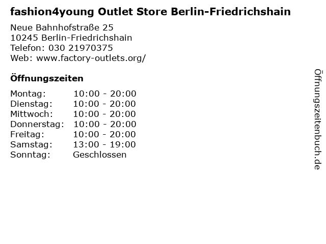 fashion4young Outlet Store Berlin-Friedrichshain in Berlin-Friedrichshain: Adresse und Öffnungszeiten