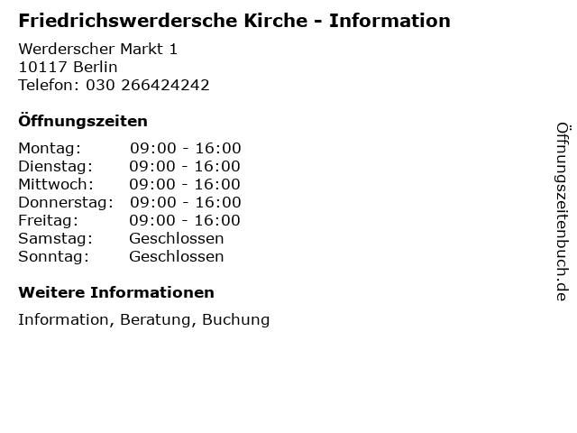 Friedrichswerdersche Kirche - Information in Berlin: Adresse und Öffnungszeiten