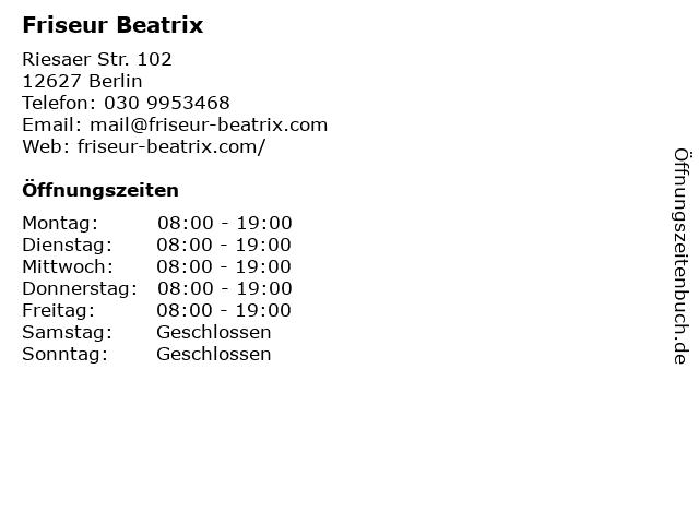 Friseur Beatrix in Berlin: Adresse und Öffnungszeiten