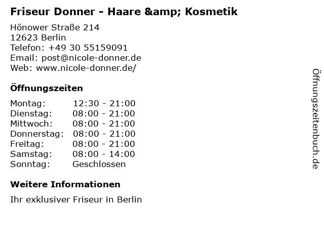 ᐅ öffnungszeiten Friseur Donner Haare Kosmetik Hönower