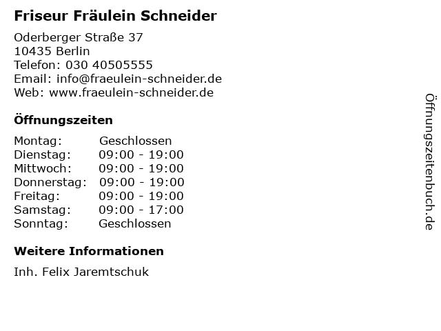 Friseur Fräulein Schneider I in Berlin: Adresse und Öffnungszeiten