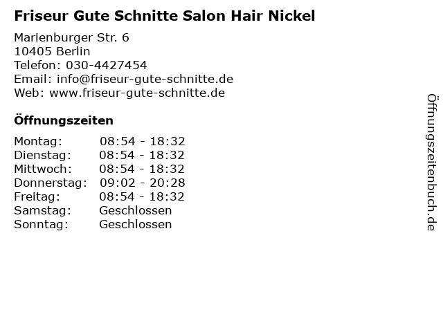 Friseur Gute Schnitte Salon Hair Nickel in Berlin: Adresse und Öffnungszeiten