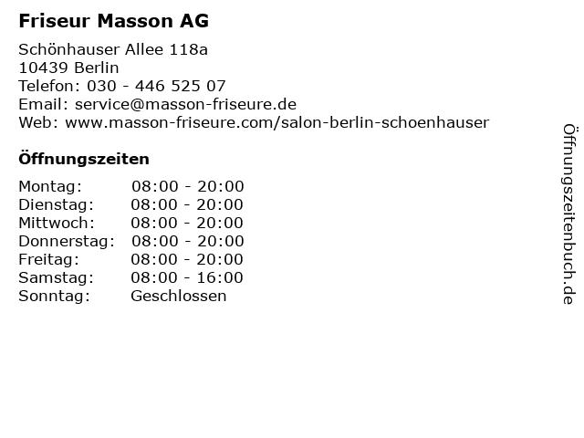 Friseur Masson AG in Berlin: Adresse und Öffnungszeiten