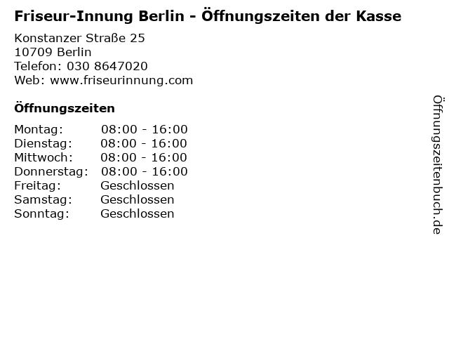 """ᐅ Öffnungszeiten """"friseur-innung berlin - Öffnungszeiten der kasse"""
