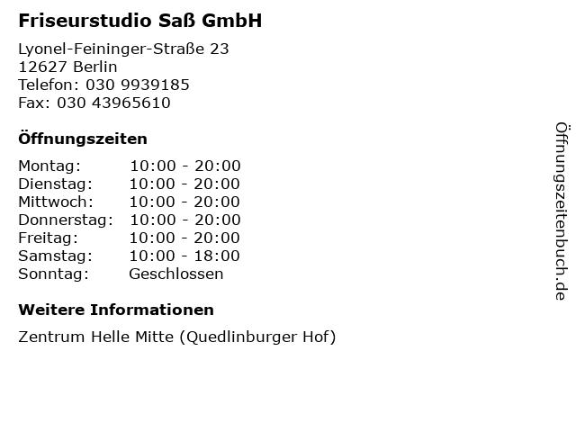 Friseurstudio Saß GmbH in Berlin: Adresse und Öffnungszeiten