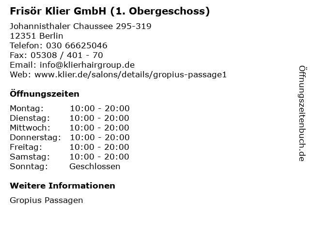 Frisör Klier GmbH (1. Obergeschoss) in Berlin: Adresse und Öffnungszeiten