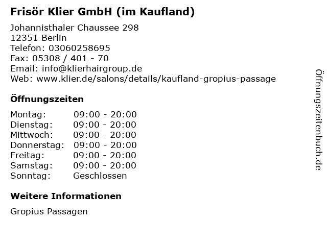 Frisör Klier GmbH (im Kaufland) in Berlin: Adresse und Öffnungszeiten