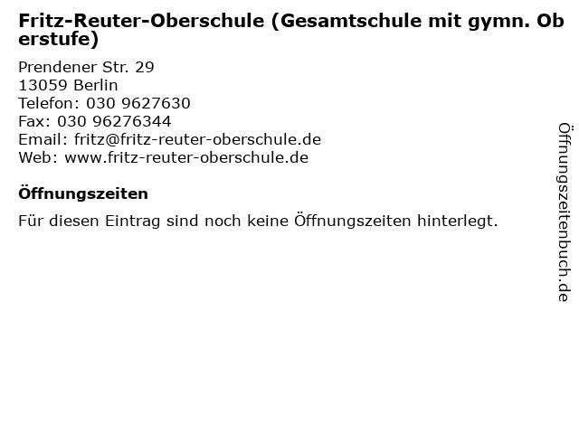 Fritz-Reuter-Oberschule (Gesamtschule mit gymn. Oberstufe) in Berlin: Adresse und Öffnungszeiten