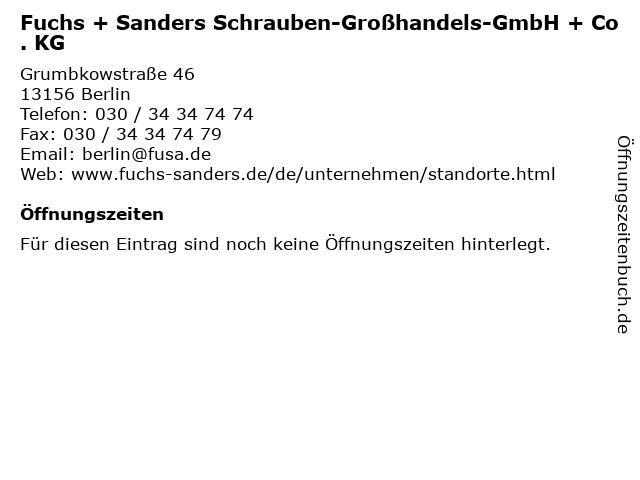 Fuchs + Sanders Schrauben-Großhandels-GmbH + Co. KG in Berlin: Adresse und Öffnungszeiten