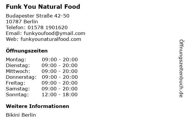 Funk You Natural Food in Berlin: Adresse und Öffnungszeiten