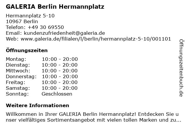GALERIA (Karstadt) Berlin Hermannplatz Kreuzberg in Berlin: Adresse und Öffnungszeiten