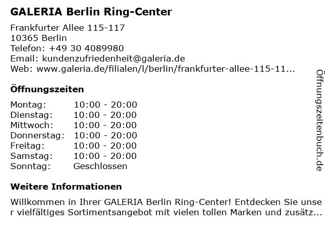 GALERIA Karstadt Kaufhof Berlin Ring-Center in Berlin: Adresse und Öffnungszeiten