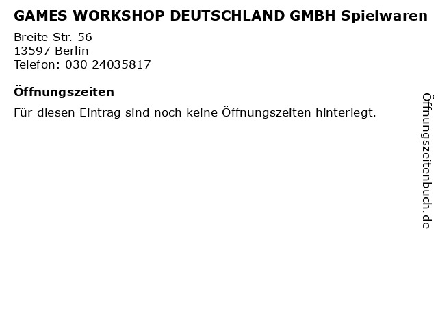 GAMES WORKSHOP DEUTSCHLAND GMBH Spielwaren in Berlin: Adresse und Öffnungszeiten