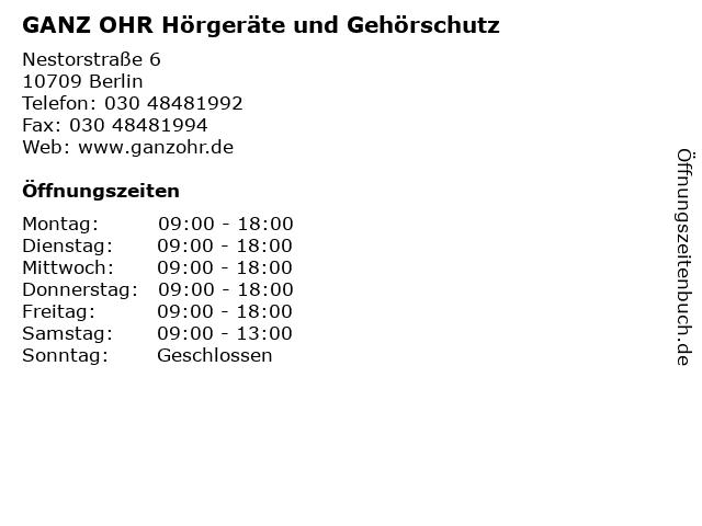 GANZ OHR Hörgeräte und Gehörschutz in Berlin: Adresse und Öffnungszeiten