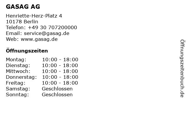 GASAG AG in Berlin: Adresse und Öffnungszeiten