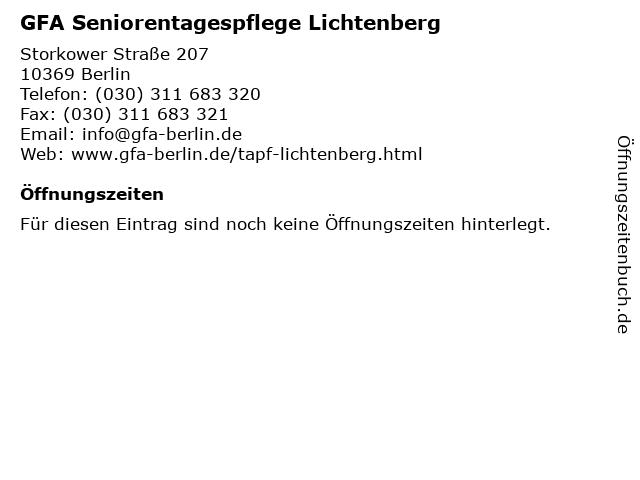 GFA Seniorentagespflege Lichtenberg in Berlin: Adresse und Öffnungszeiten