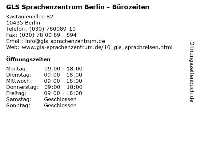 GLS Sprachenzentrum Berlin - Bürozeiten in Berlin: Adresse und Öffnungszeiten