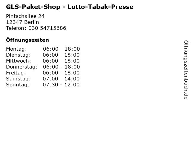 GLS-Paket-Shop - Lotto-Tabak-Presse in Berlin: Adresse und Öffnungszeiten
