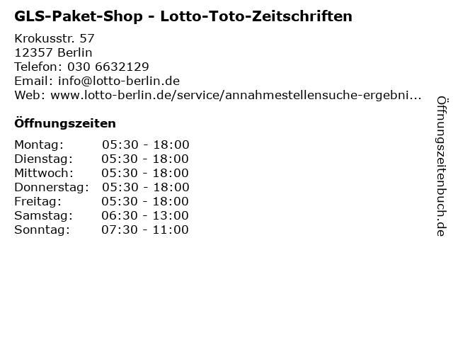 GLS-Paket-Shop - Lotto-Toto-Zeitschriften in Berlin: Adresse und Öffnungszeiten