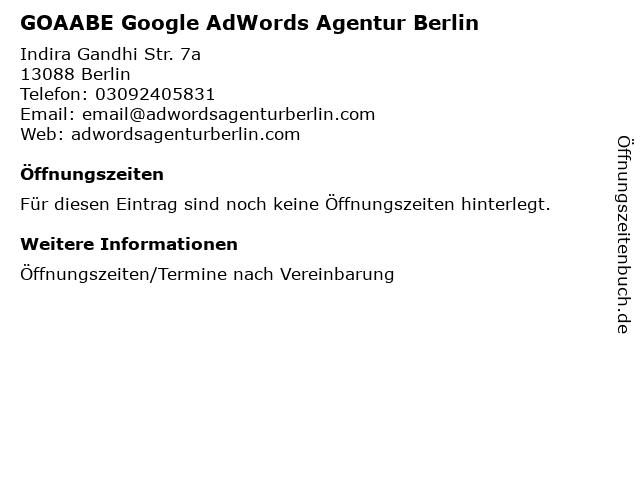 GOAABE Google AdWords Agentur Berlin in Berlin: Adresse und Öffnungszeiten