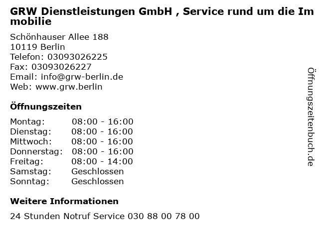 GRW Dienstleistungen GmbH , Service rund um die Immobilie in Berlin: Adresse und Öffnungszeiten
