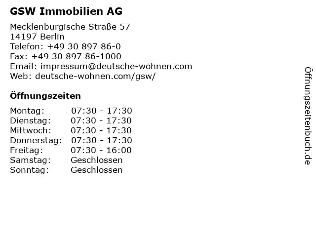 ᐅ öffnungszeiten Gsw Immobilien Ag Mecklenburgische Straße 57