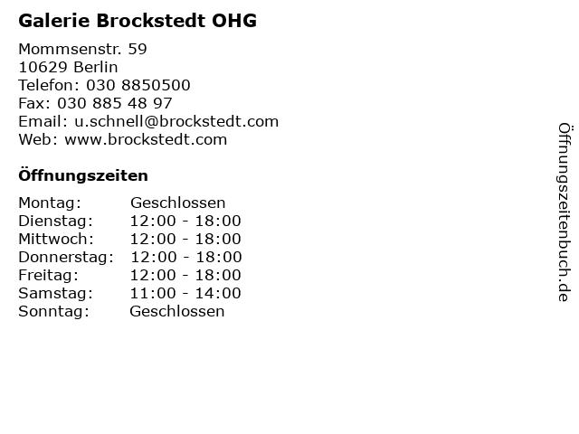 Galerie Brockstedt OHG in Berlin: Adresse und Öffnungszeiten