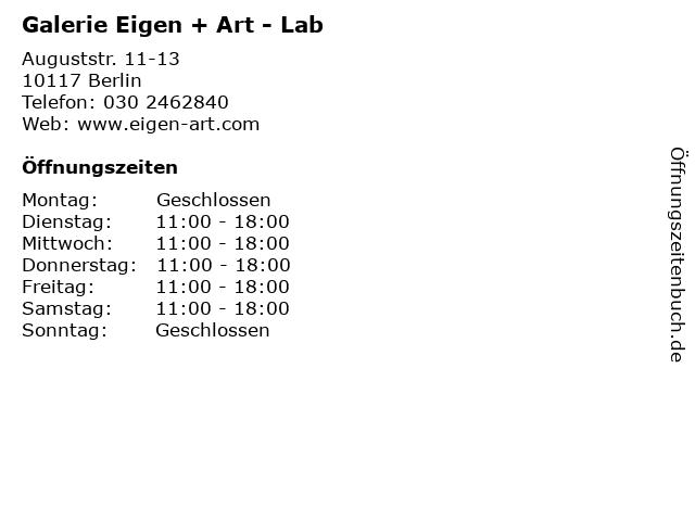 Galerie Eigen + Art - Lab in Berlin: Adresse und Öffnungszeiten