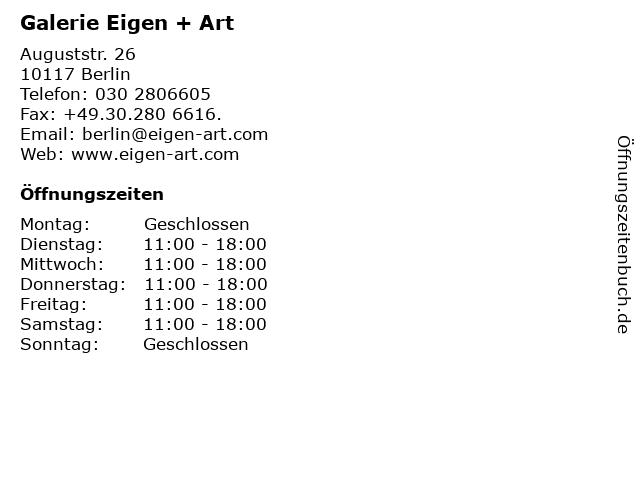 Galerie Eigen + Art in Berlin: Adresse und Öffnungszeiten