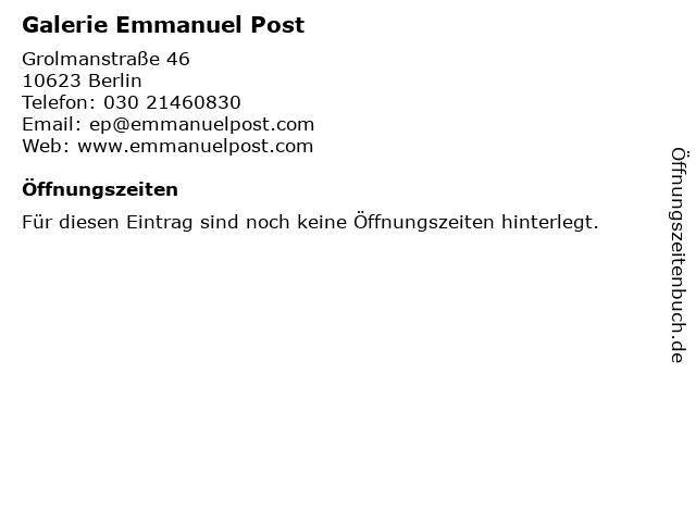Galerie Emmanuel Post in Berlin: Adresse und Öffnungszeiten