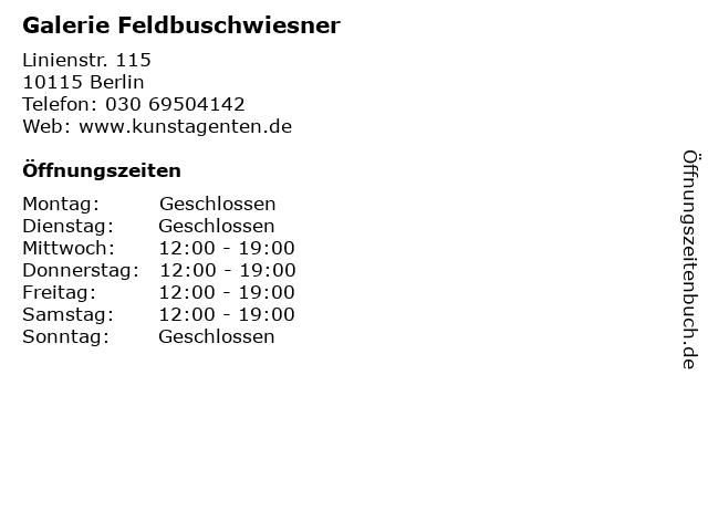 Galerie Feldbuschwiesner in Berlin: Adresse und Öffnungszeiten