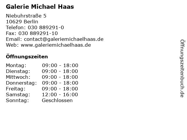 Galerie Michael Haas in Berlin: Adresse und Öffnungszeiten