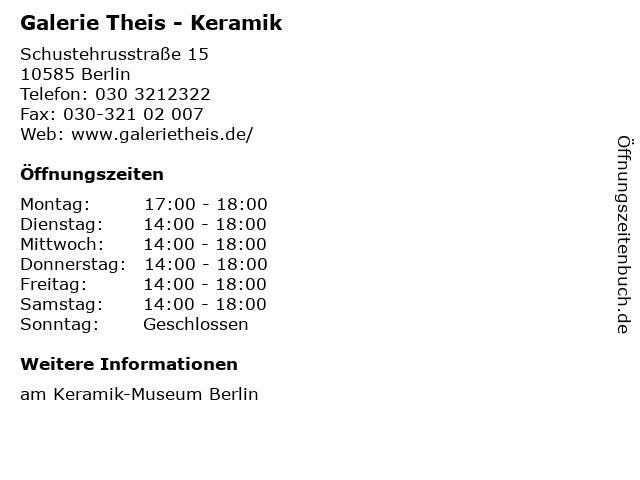 Galerie Theis - Keramik in Berlin: Adresse und Öffnungszeiten