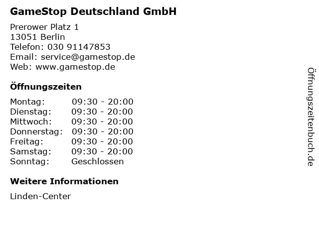 GameStop Deutschland GmbH in Berlin: Adresse und Öffnungszeiten