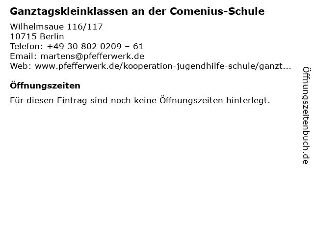 Ganztagskleinklassen an der Comenius-Schule in Berlin: Adresse und Öffnungszeiten